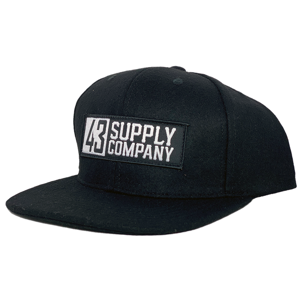 Invert Black Wool Snapback Hat