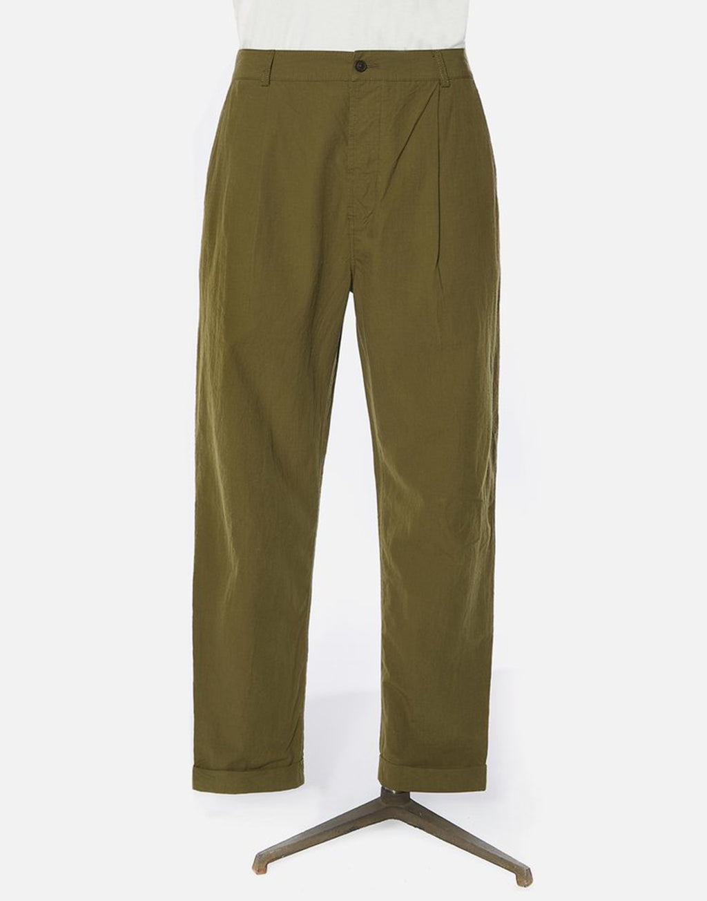 Universal Works Pleated Pant In Olive Ripstop Cotton