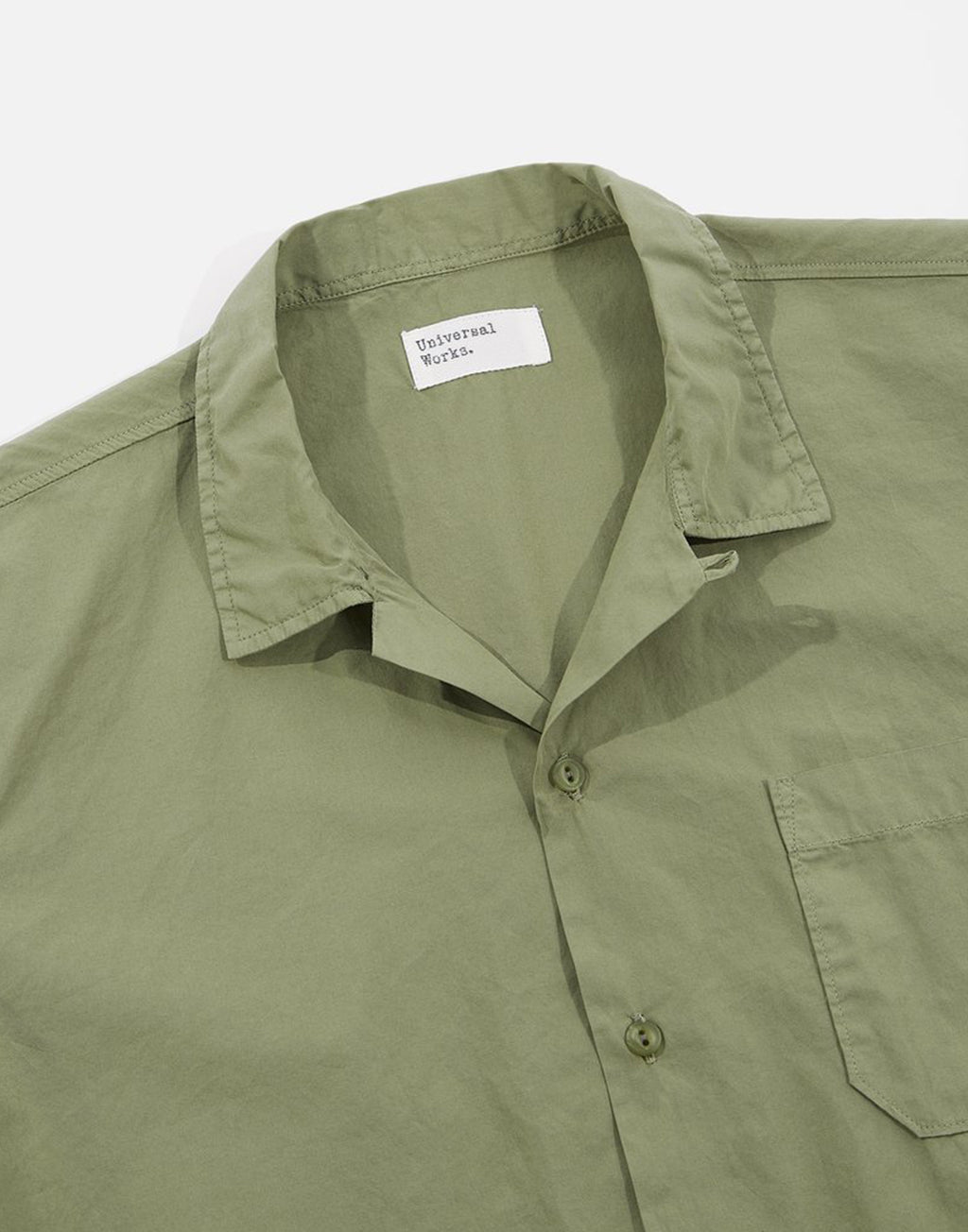 Universal Works Road Shirt In Olive Organic Fine Poplin