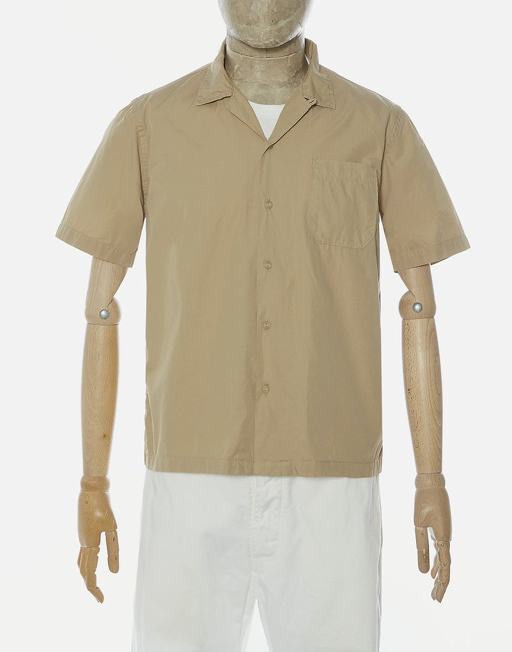 Universal Works Road Shirt In Sand Organic Fine Poplin