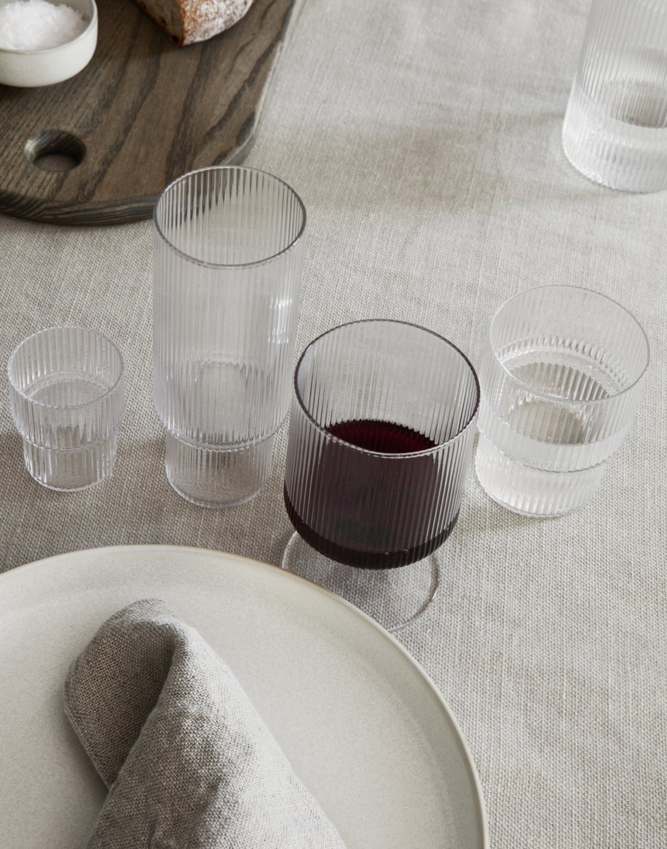 Ferm Living Ripple Wine Glasses (Set of 2) Clear