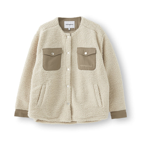 Checket Pile Shirt Jacket - Beige