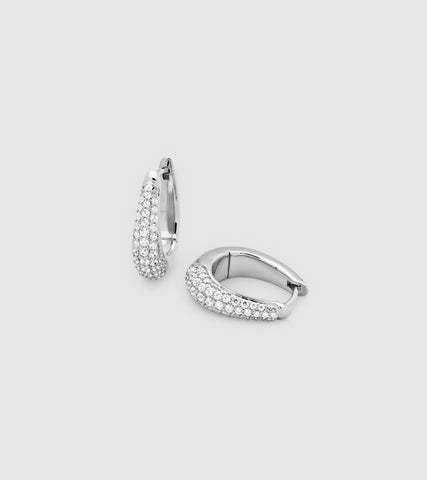 LIZ HOOPS PAVE SILVER