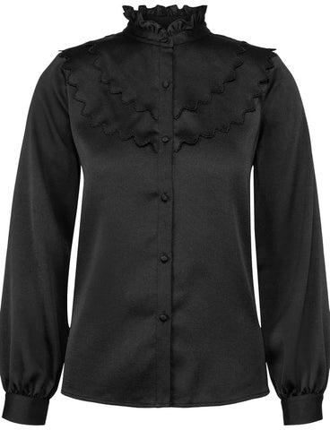 LAYERED RUFFLE BLOUSE - BLACK