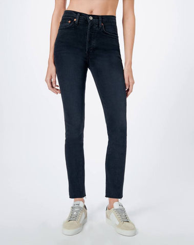 High Rise Ankle Crop - Faded Black