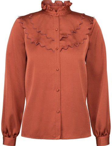 LAYERED RUFFLE BLOUSE - RED