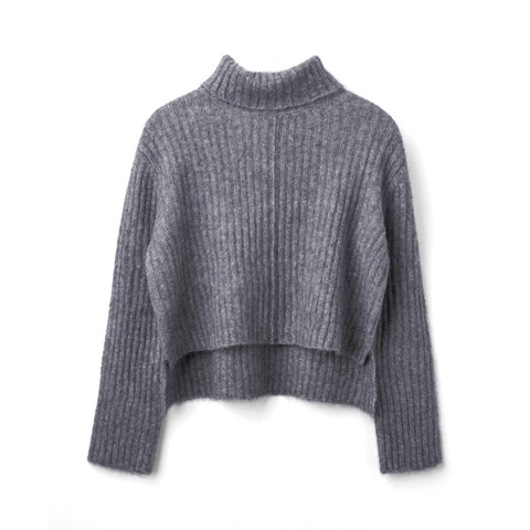 You Know Short Sweater- Lt. Grey Mel