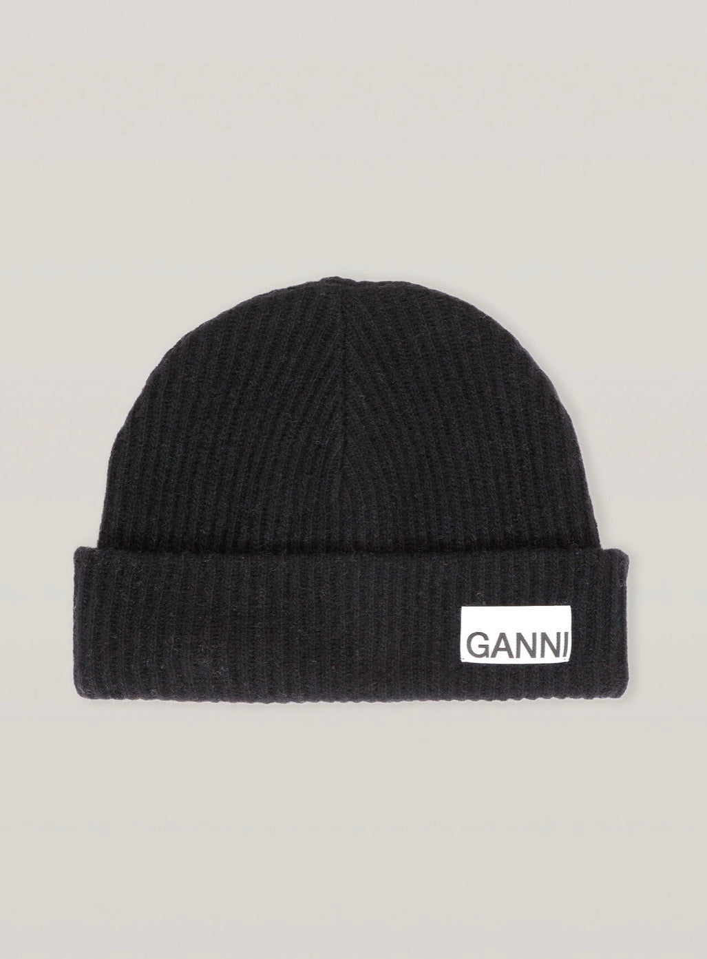 Recycled Wool Knit Hat - Black