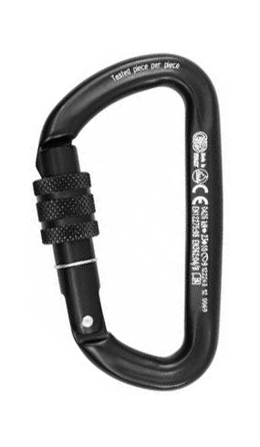 Light alloy carabiner with locking ring