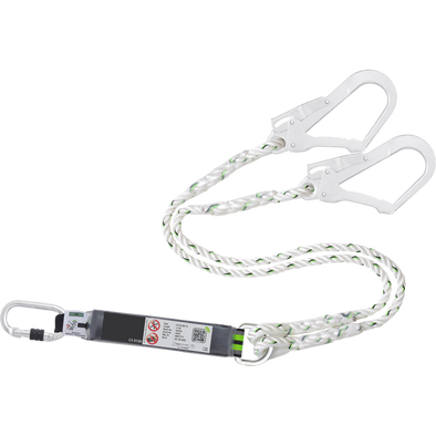 Double lanyard with shock absorber with 2 pliers carabiners