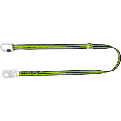 Flat adjustable lanyard for positioning L 2 m with carabiner