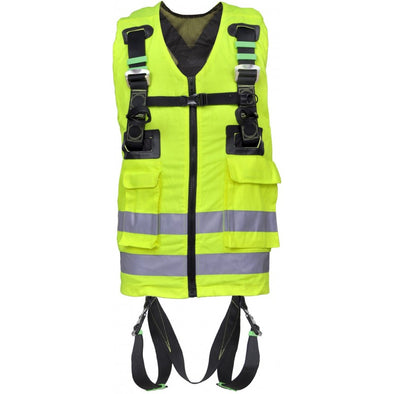 High visibility vest with harness