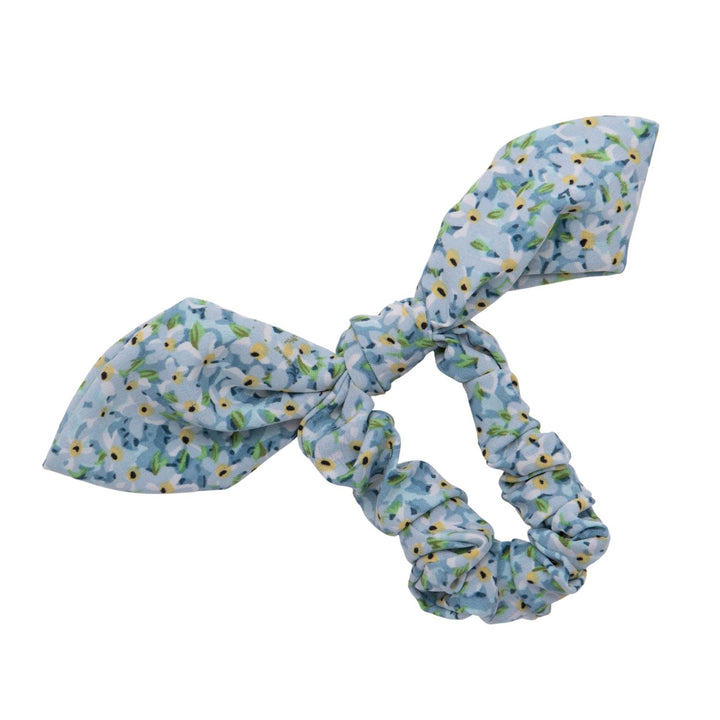 Lilly Floral Print Bow Scrunchie Blue