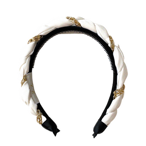 Evelyn Twisted Link Headband White