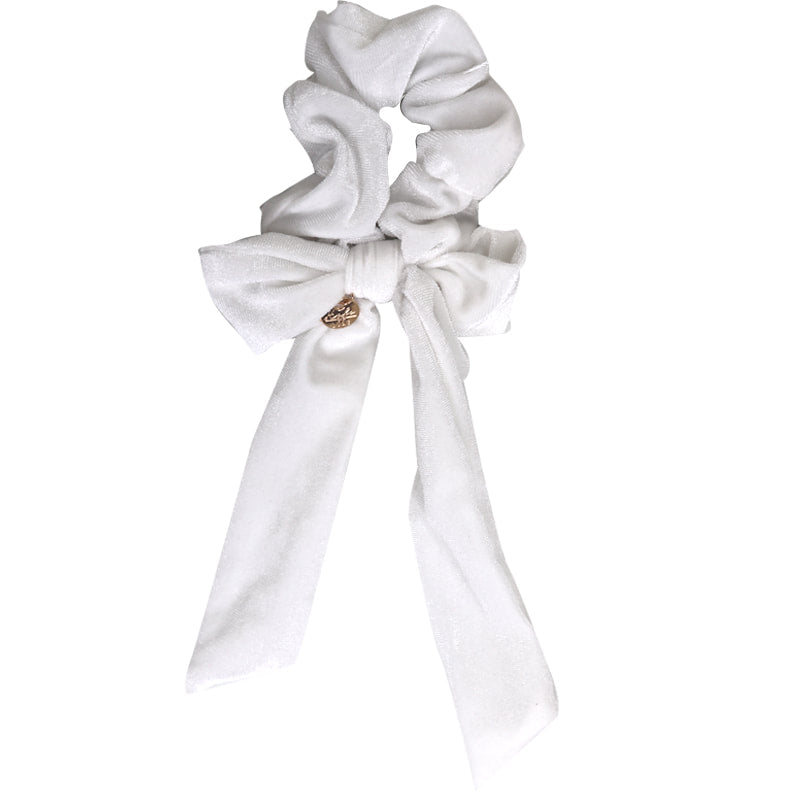 Ecstasy Velvet Bow Scrunchie White