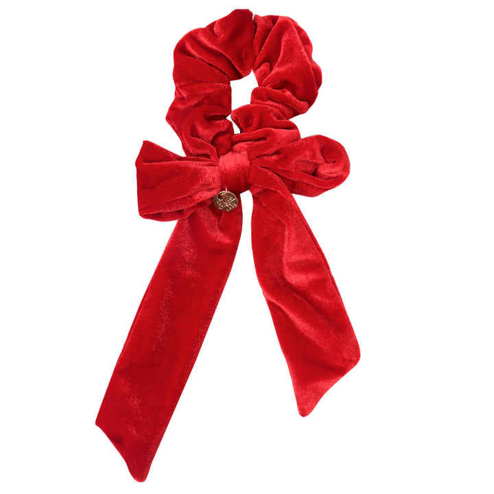 Ecstasy Velvet Bow Scrunchie Red