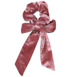 Ecstasy Velvet Bow Scrunchie Rose
