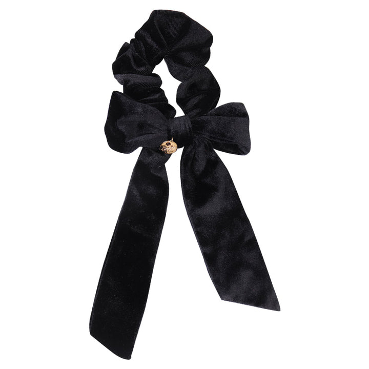 Ecstasy Velvet Bow Scrunchie Black
