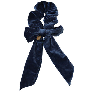Ecstasy Velvet Bow Scrunchie Steel Blue