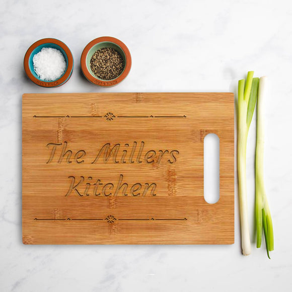 Personalised Bamboo square chopping board with the (Name) Kitchen design
