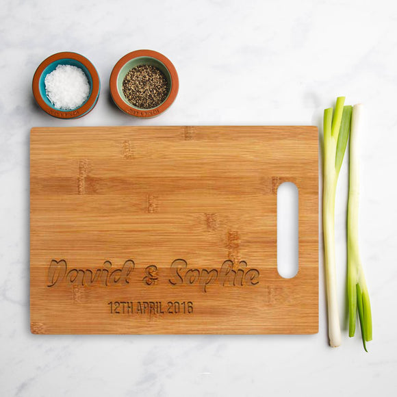 Personalised Bamboo square chopping board with custom name and date