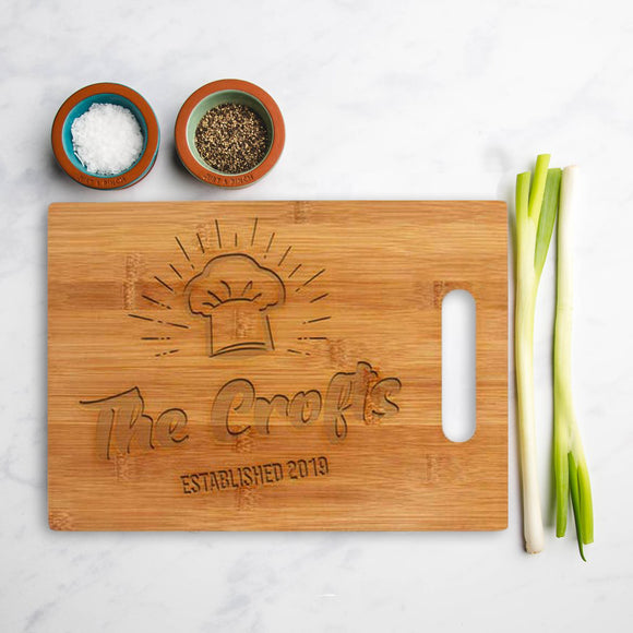 Personalised bamboo Square chopping board Established