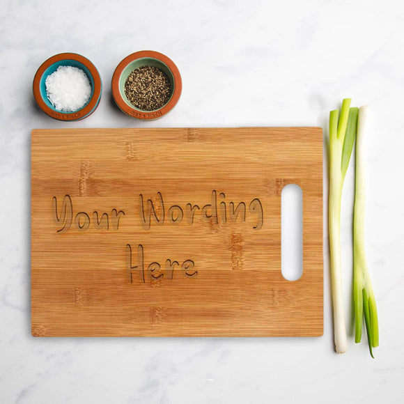 Personalised bamboo square chopping board with your own wording