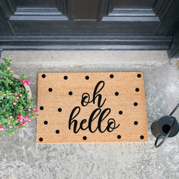OH HELLO Doormats Mats Brown Entrance Mats Door Mats, Hall Mats,