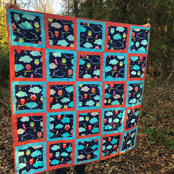 KIDS QUILT - bright owl