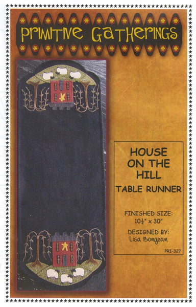 HOUSE ON THE HILL - wool table runner pattern