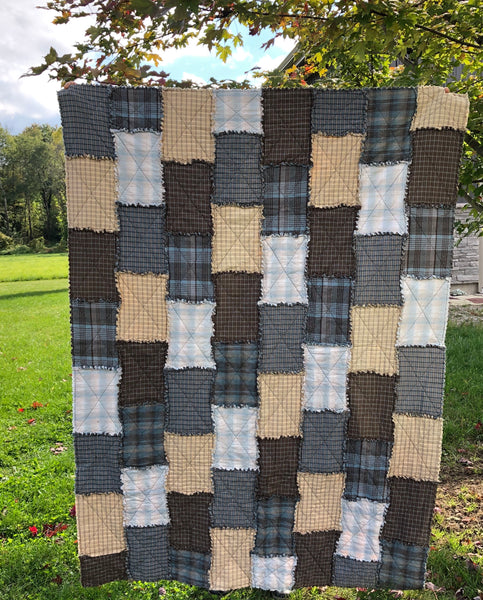 LAP QUILT - blue rag bricks