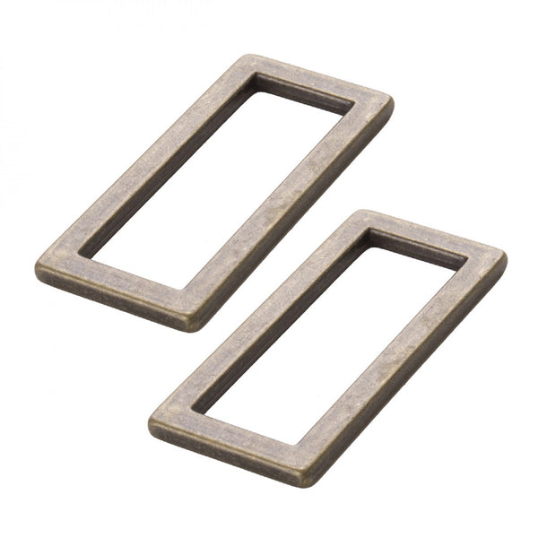 "1 1/2"" FLAT RECTANGLE RINGS ANTIQUE BRASS (2 PACK) - purse hardware"