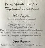 PENNY MATS THRU THE YEAR SEPTEMBER - wool table mat pattern