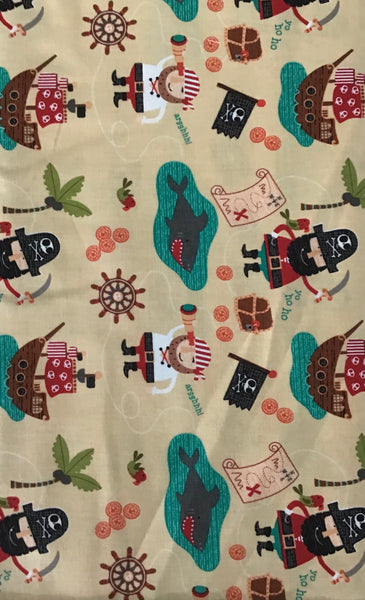 BLACKBEARD'S PIRATES (C5030-GOLD) - fabric price per 1/4 meter