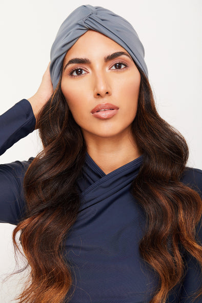 Turban Knot Swim Cap - Grey