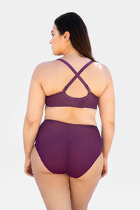 Curvy Couture - High Apex Diamond Net Bra Aubergine