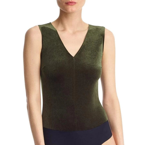 Commando -  Velvet V-Neck Bodysuit Dark Olive