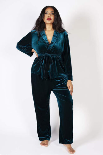 Playful Promises - Velvet Pyjama Set Teal