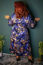 Load image into Gallery viewer, Playful Promises - Peacock Print Satin Kimono Robe Teal