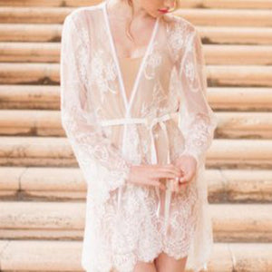 Girl & A Serious Dream - Boudoir Lace Robe Off White