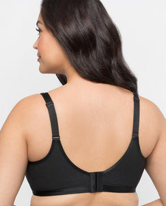 Curvy Couture - Cotton Luxe Unlined Wire Free Bra Black