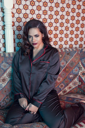 Playful Promises - Smoking Suit PJ Set Black & Red