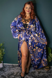 Playful Promises - Peacock Print Satin Kimono Robe Teal
