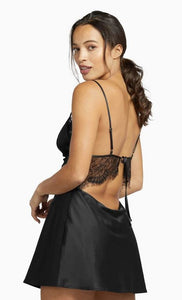 Wolf & Whistle - Helena Triangle Lace Slip Dress Black