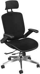SNOVIAY Ergonomic Office Chair, Executive Task Mesh Chair High Back Desk Chair with Flip-Up Armrest, Adjustable Headrest, Tilt Function, Lumbar Support and PU Wheels, Swivel Computer Chair (Black-)