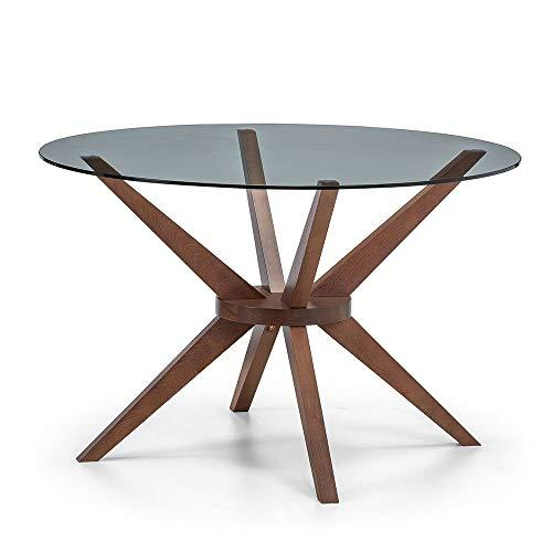 Julian Bowen Dining Table, Walnut/Glass - zedhouses