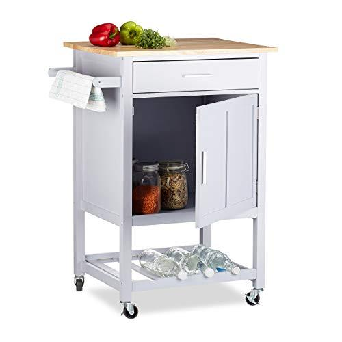 Relaxdays Kitchen Cart with Wine Rack - zedhouses