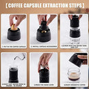 2 in 1 Coffee Machine,Portable Manual Coffee Maker, Mini Espresso Maker,Capsule & Ground Compatible,Perfect for Camping, Travel and Office,White