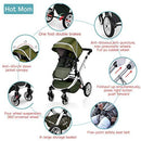 Pushchair 2 in 1,Upgrade Baby Stroller with Independent Seat and Bassinet Combo Pram,Foot muff and Cup Holder 7 Gifts,(Green)