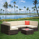 bigzzia 6 Seater Garden Furniture Set, Patio Rattan Dining Table Set Wicker Weave Corner Sofa Seat Glass Coffee Table Conversation Set With Cushions and Pillows For Lawn Backyard Poolside